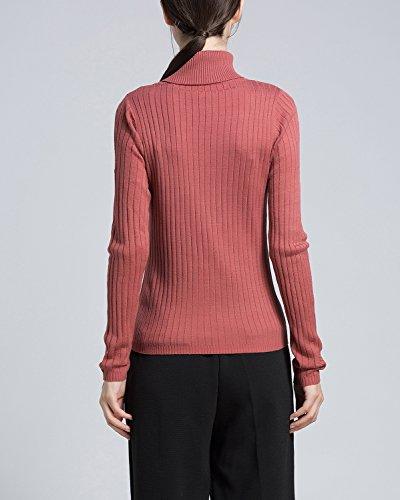 Casual Alto Lungo Caldo Lunga Collo Rosso Donna 2 Maliga Maglione Manica Per Maglioni IxHInar