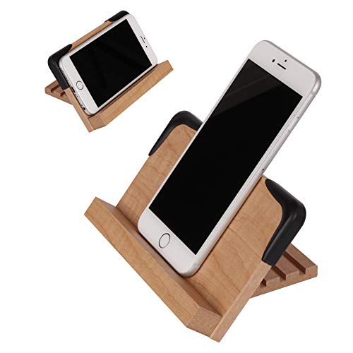 Cell Phone Stand - Adjustable Wood Multi-Angle Desktop Stand for iPhone XR XS Max X 8 7 6 6s Plus 5 5s 5c, Samsung, Galaxy Universal, Accessories Desk, Holder, Dock, PS150