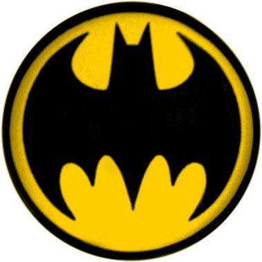 Batman Signal Yellow Black Button