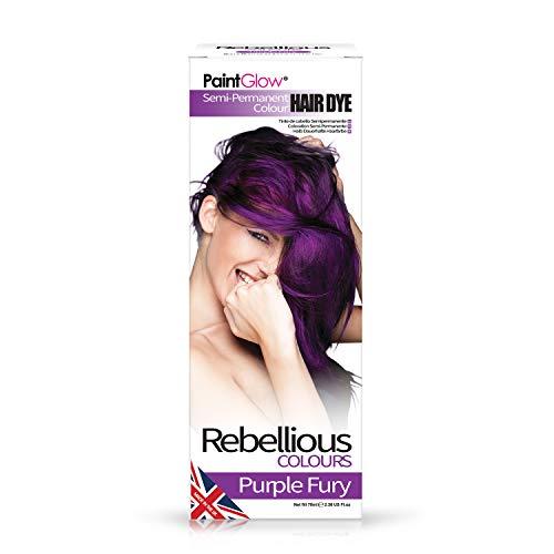 PaintGlow, Semi-Permanent Hair Dye, Purple Fury, 70ml hair dye colour hair...