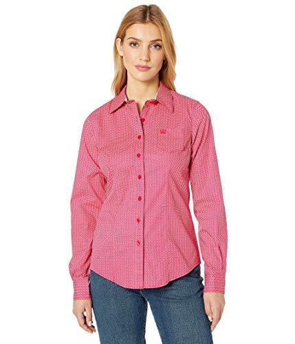 (Cinch Women's Long Sleeve Print Pink Small)