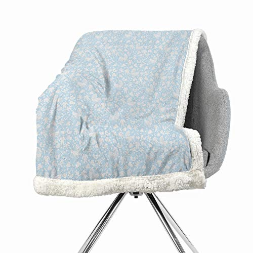 (Baby Berber Fleece Flannel Bed Blankets 60 by 47 Inch Warm Pale Blue White Hearts Background with Teddy Bears Strollers Infant Clothes Newborn Child Theme)