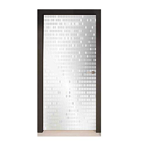 (Grey 3D Door Wallpaper Digital Art Ombre and Dots Graphic Design Modern Home Textiles Print for Home Room Decoration Silver Gray,W17.1xH78.7)