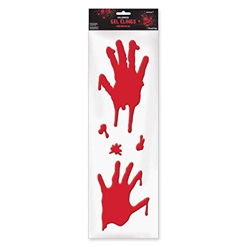 ween Bloody Hands Window Gel Clings Decoration, Gel, (Halloween Gel)