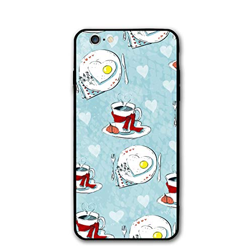 iPhone 6 iPhone 6S Case- Stylish Love Seamless Pattern of Teacups and Heart Cookies PC Slim Shockproof Flexible Back Protective Case ()