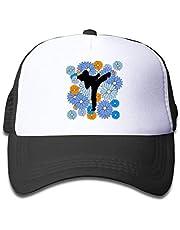 AUCAMP Mesh Baseball Hat Girl's Flowers and Karate Cute Adjustable