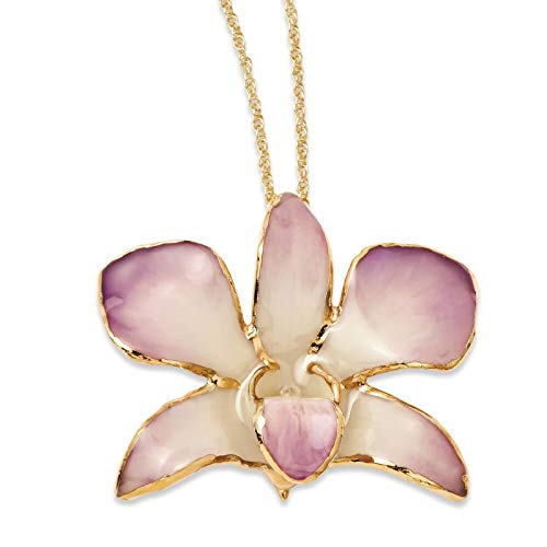 Venture Roses & Leaves Collection Lacquer Dipped Gold Trimmed Lilac Dendrobium Orchid Necklace w/Gold-Tone Chain 20""