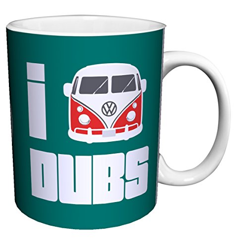 Volkswagen VW Camper I Love Dubs Vintage Illustrated Car Art Saying Porcelain Gift Coffee (Tea, Cocoa) 11 Oz. Mug