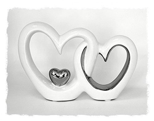 Deko Figur doppeltes Herz Herzen Paar aus Keramik lackiert weiß chrom, 13 x 19 cm, Herzchen Skulptur Statue modern, Symbol der Liebe