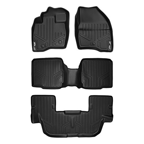 MAX LINER A0245/B0109/C0082 Custom Fit Floor Mats 3 Liner Set Black for 2017-2019 Ford Explorer with 2nd Row Center Console ()