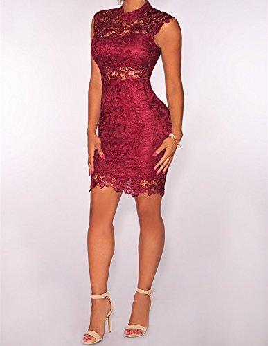 357748c2a Vestidos De Mujer Sexys Pegados Al Cuerpo Color Vino Ropa De Moda para  Fiesta y Noche Elegante Casuales Encaje Rojos VE009 at Amazon Women s  Clothing store