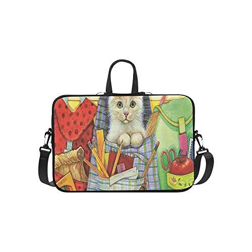 Cute Cat Sit in Backpack Books Pencil Pattern Briefcase Laptop Bag Messenger Shoulder Work Bag Crossbody Handbag for Business Travelling