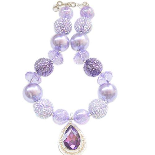 Amulet Teardrop Amethyst Bubblegum necklace. Princess necklace Birthday (Bead Amulet Bag)