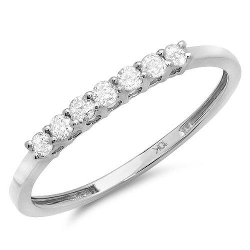 0.25 Carat (ctw) 10K White Gold Diamond Ladies 7 Stone Wedding Band 1/4 CT (Size 8) by DazzlingRock Collection