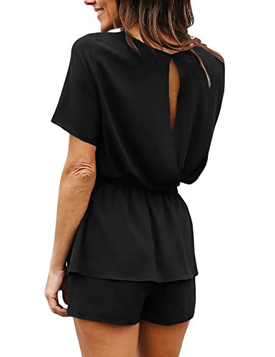 Utyful Women's Casual Short Sleeve Belted Keyhole Back One Piece Black Jumpsuit Romper Size Small (Fits US 4 - US 6) by Utyful (Image #1)