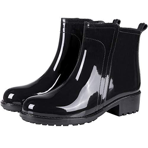 Women's Ankle Rain Boots Short Slip On Waterproof Outdoor Anti Slip Work Rain Shoes BK37 Black
