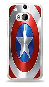 Popular Superhero Shield Phone Case White Hardshell Case for HTC One M8