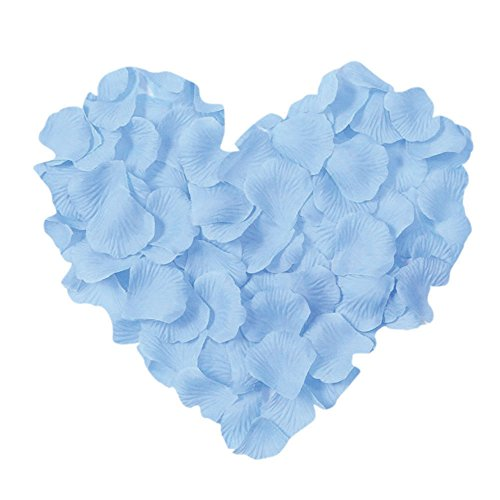 Blue Silk Rose Petals (Neo LOONS 1000 Pcs Artificial Silk Rose Petals Decoration Wedding Party Color Light Blue)