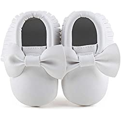Delebao Infant Toddler Baby Soft Sole Tassel Bowknot Moccasinss Crib Shoes (6-12 Months, White2)
