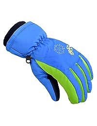Janedream Kids Ski Gloves Winter Snow Warm Waterproof Children Windproof Thickening Gloves for Girls Boys M Dark Blue