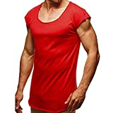 Men Sport T-Shirts, Summer Short Sleeve Tops Casual O-Neck Loose Plain Solid Color Blouse Gym Running Beach Wear Red,XXL