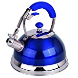 Premium Quality 18/8 Food Grade Heavy Gauge Blue Stainless Steel Whistling TEA KETTLE with Ergonomic Soft Grip Anti-Hot Handle BY UNIWARE- Stovetop pot 2.7 qt. 12 Cup Teapot