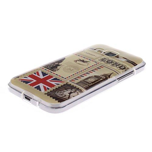 Samsung Galaxy G360 Funda,Ligero a Prueba de Choques Flexible Ultra Fino Suave TPU Parachoque Carcasa MAGQI Tecnología IMD Diseño Impreso Vendimia Serie Patrón [Absorción de Impacto] Resistente a los  Sobre de Londres