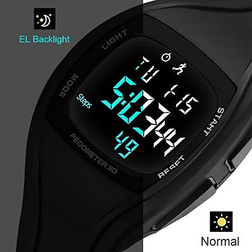 Orologi digitali per ragazzi, contapassi, sport per bambini, 5 atm, impermeabile, con sveglia, timer, luce EL, colore nero