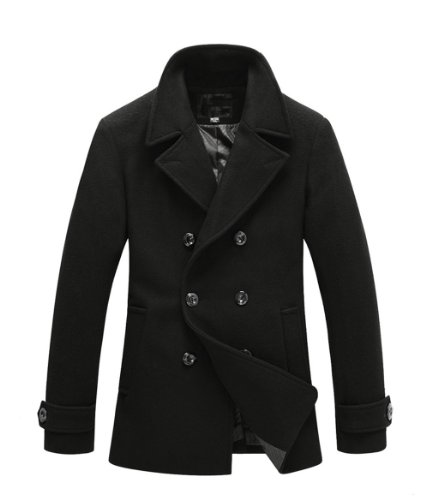 Kingdo@men's Winter Wool Blend Pea Coats Jacket (black, u...