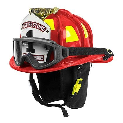- Cairns Red N6A Houston Leather Fire Helmet - Red, Large, ESS Innerzone 2 Googles & NFPA Bourkes