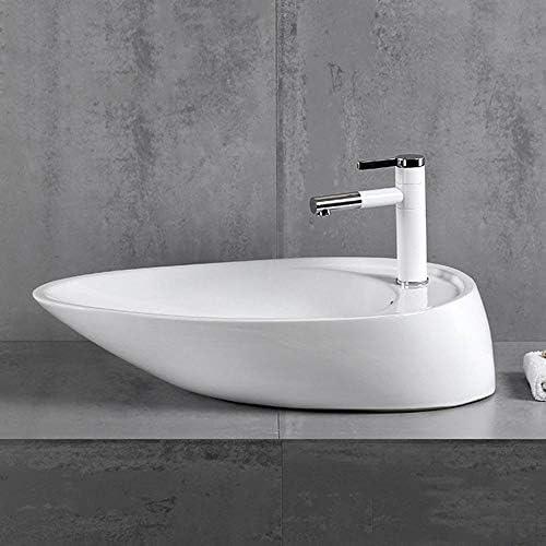 セラミック洗面器 現代の舟形ハイトセラミックバス容器シンクトイレ洗面所クロークのために バスルームキャビネットシンク (色 : 白, Size : 67x42x16cm)