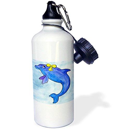 3dRose wb_1099_1 Daisy Bottlenosed Dolphin Sports Water Bottle, 21 oz, White