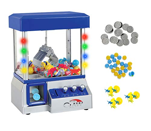 TSF TOYS Claw Game Machine-Kids Mini Arcade Grabber- Toy Candy Dispenser Crane Toy-with LED Lights and Adjustable Sound Switch–Bonus 24 Prizes (Blue)