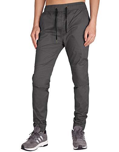 - ITALY MORN Men's Chino Jogger Khaki Casual Pants S Dark Grey