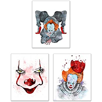 Stephen King's IT Prints - Set of Three (8x10) Watercolor Clown Photos