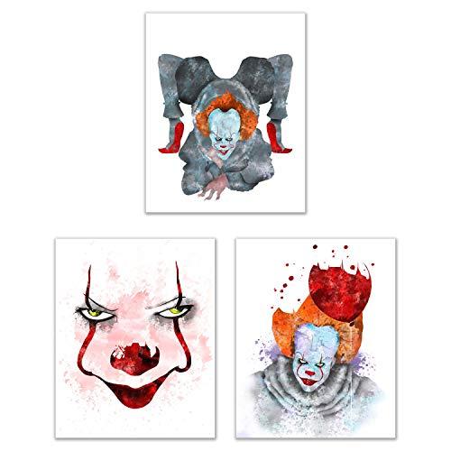 Stephen King's IT Prints - Set of Three (8x10) Watercolor Clown Photos