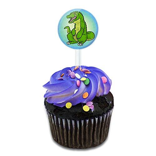 Happy Alligator Cake Cupcake Toppers Picks Set