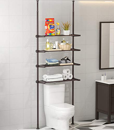 ALLZONE 4 Tier Bathroom Organizer, Over The Toilet Storage Shelf, 4 Positonable Shelves, Pole Height Adjustable 92-116…