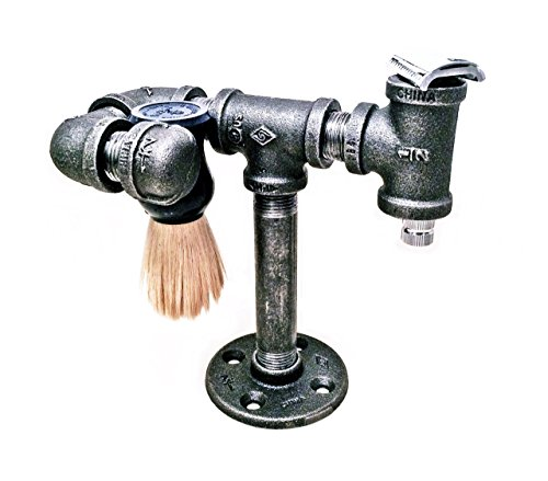 safety-razor-stand-and-brush-holder-shaving-brush-stand-shaving-stand-iron-pipe-industrial-minimalis