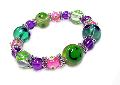 Shape Stretch Bracelet - Linpeng Kids Emoji Beaded Bracelet - Emoji Beads Multi Colored Cute Smiley Face Stretch Bracelet for Women/Girls & Boys