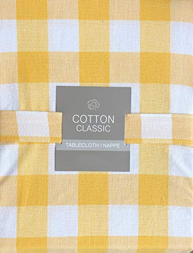 Cotton Classic Tablecloth Bistro Check Pattern Yellow and White Checkered Stripes - 60 Inches Round