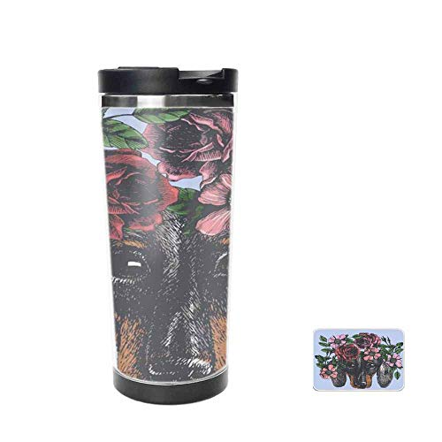 Hippie Dachshund in The Roses Wreath Travel Mug for Coffee & Tea,Drinking Cup, Coffee Mug,Thermos Cup 14oz