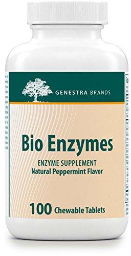 Genestra Brands - Bio Enzymes - Complete Digestive Enzymes Formula in Chewable Tablets - Natural Peppermint Flavor - 100 Chewable Tablets