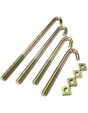 Zinc J - Juego de 6 Pernos y Tuercas para Valla de Techo, M8 x 100 mm