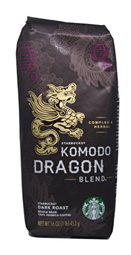 Starbucks - Roasted All in all Bean Coffee - 16 oz - Pack of 2 (Komodo Dragon Blend)