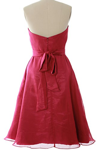 Party with Dress Bridesmaid Short Wedding Gown Sweetheart Fuchsia Women MACloth Sash xIw8qTaYU