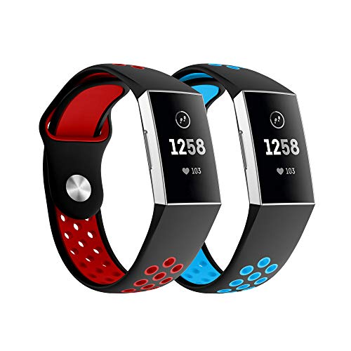 Yayuu Compatible Fitbit Charge 3 Bands Silicone, Soft Silicone Adjustable Breathable Sport Watch Strap Fitbit Charge 3/Charge 3 SE Replacement (2Pack BlackBlue+BlackRed, Small(5.11~7.67))