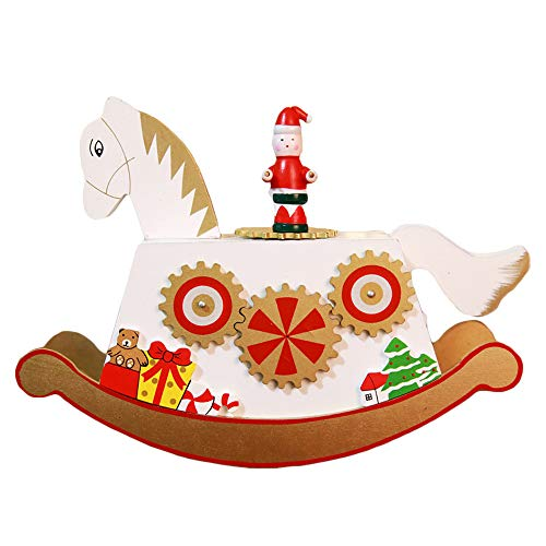 lotus.flower Christmas Theme Wooden Music Box┃Christmas Sleigh Desktop Classic Xmas Decoration┃Carousel&Ferris Wheel Design Gift┃Photography Props Christmas Crafts Home Office Decoration (A) by lotus.flower