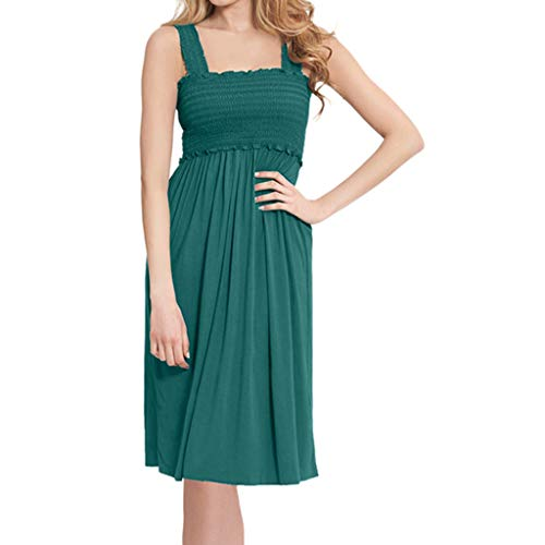 - Cenglings Women's Casual Maternity Nursing Wrap Sleeveless Strap Dress Solid Color Double Layer Dress Loose Mini Dress Green