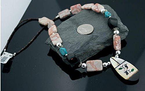 Inlay Kachina $300 Retail Tag Authentic Made by Charlene Little Navajo Silver Turquoise Native American Necklace